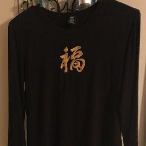 Lucky Brand long sleeve Tee w/Kanji characters.